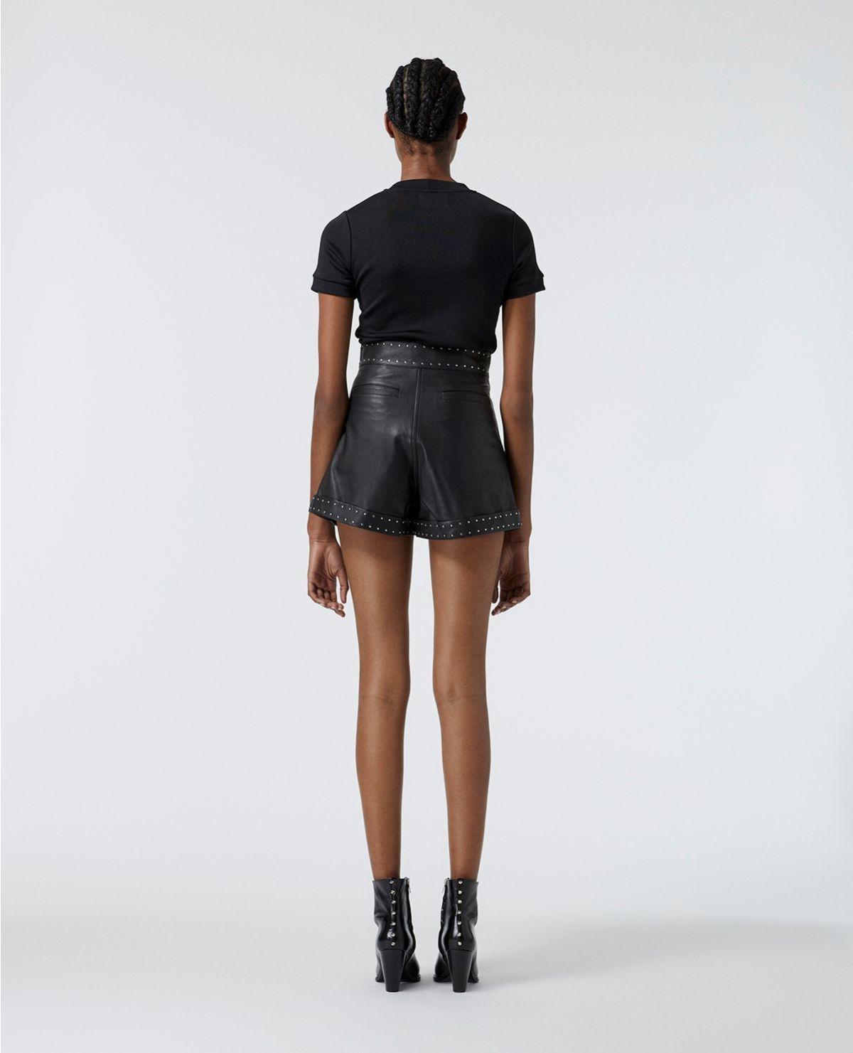 THE KOOPLES short noir cuir à ceinture cloutée-5