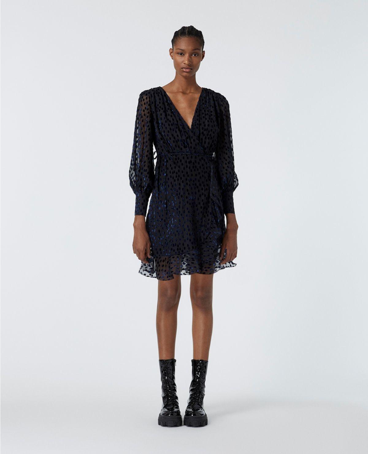 THE KOOPLES robe portefeuille pois velours dévoré-1