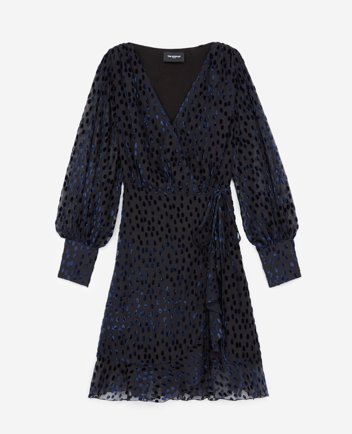 THE KOOPLES robe portefeuille pois velours dévoré-2