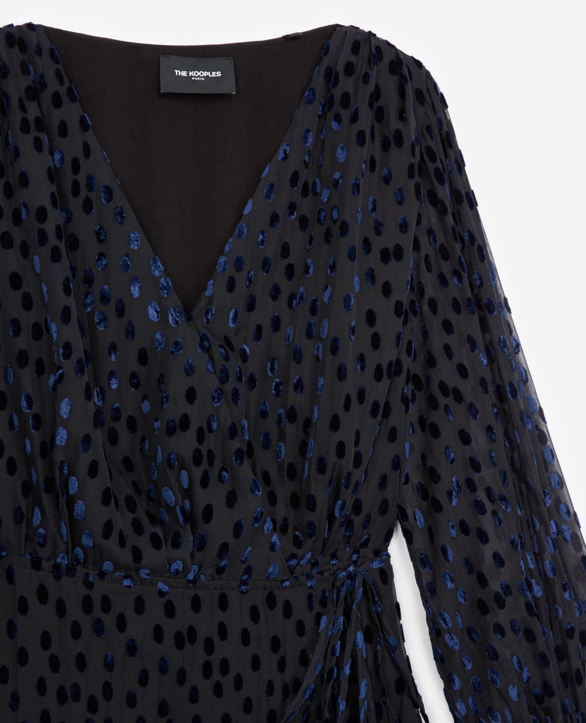 THE KOOPLES robe portefeuille pois velours dévoré-3