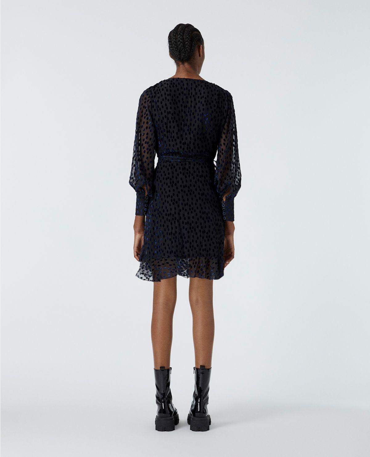 THE KOOPLES robe portefeuille pois velours dévoré-4