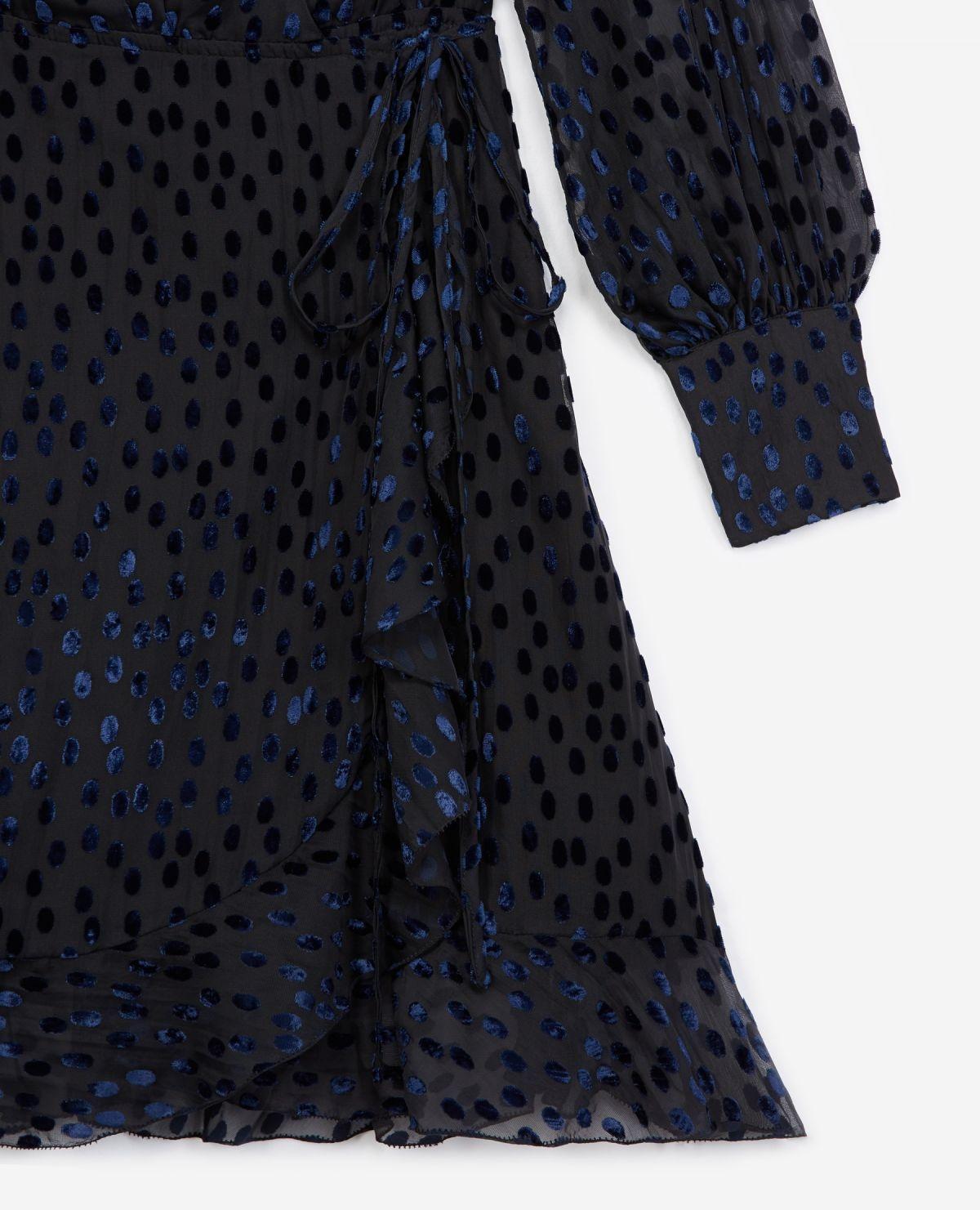 THE KOOPLES robe portefeuille pois velours dévoré-5