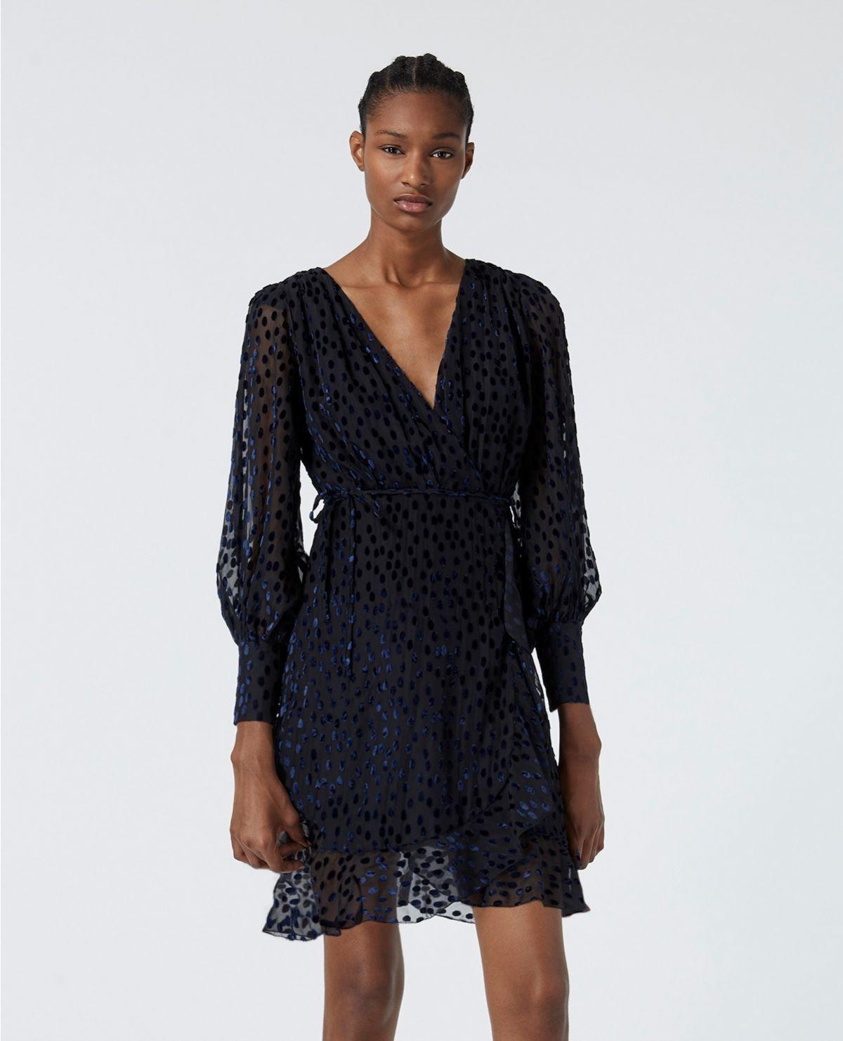THE KOOPLES robe portefeuille pois velours dévoré-6