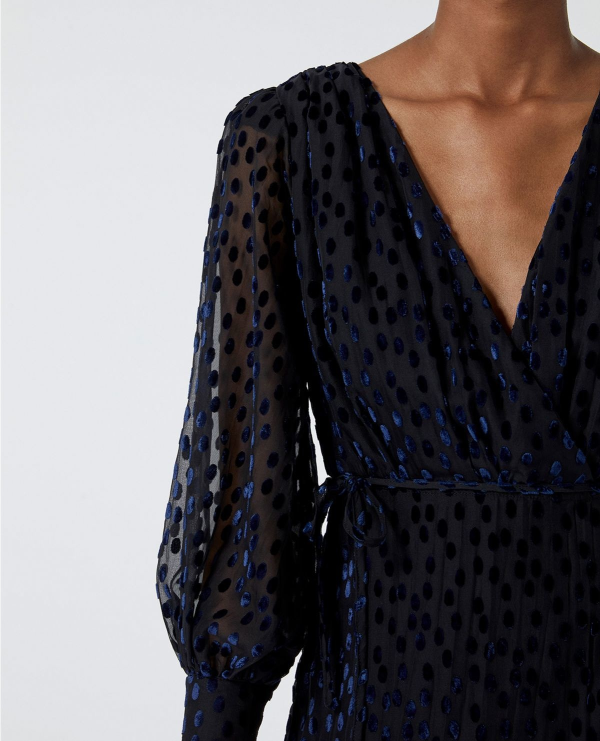THE KOOPLES robe portefeuille pois velours dévoré-7