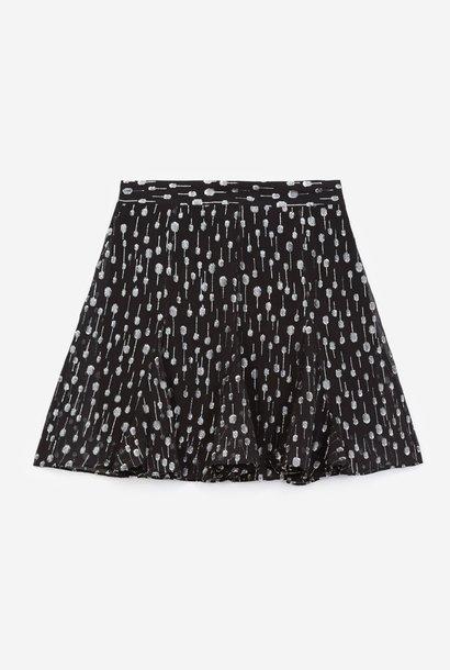 THE KOOPLES jupe courte noire à pois argentés