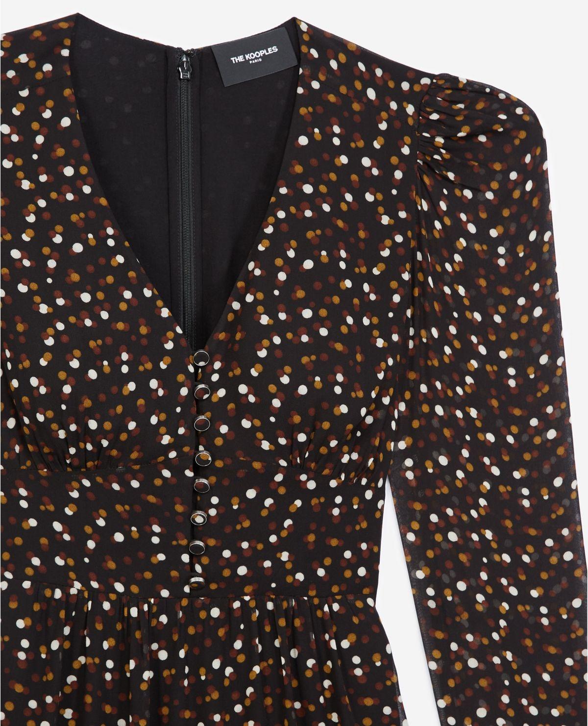 THE KOOPLES robe courte boutonnée imprimée pois-2