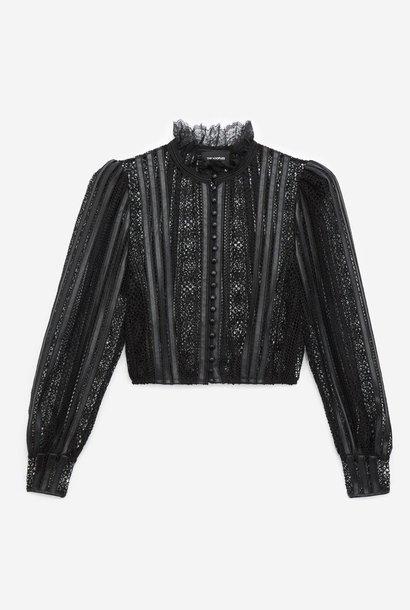 THE KOOPLES top dentelle noir col rond détails cuir
