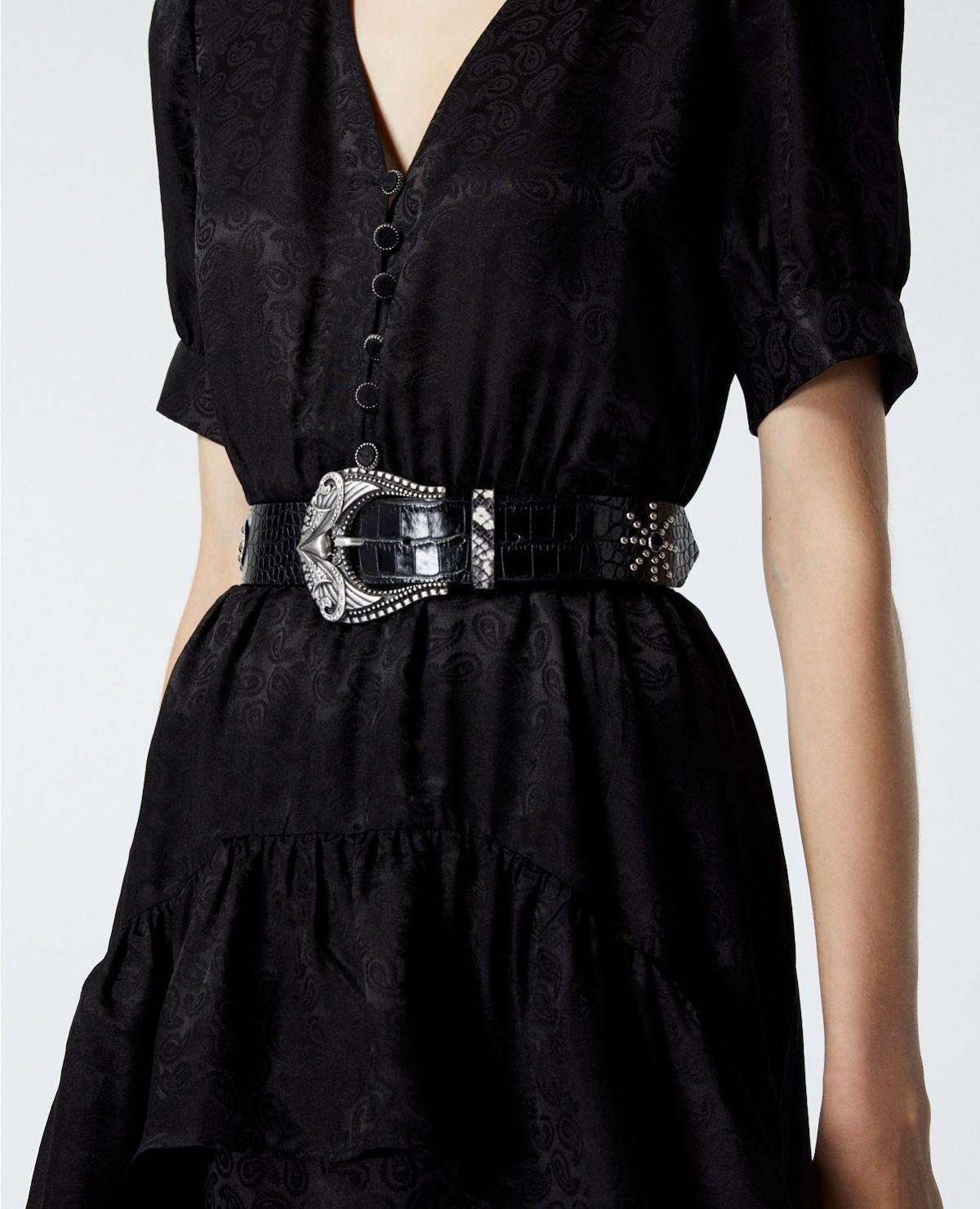 THE KOOPLES ceinture cuir noir effet python strassé-2