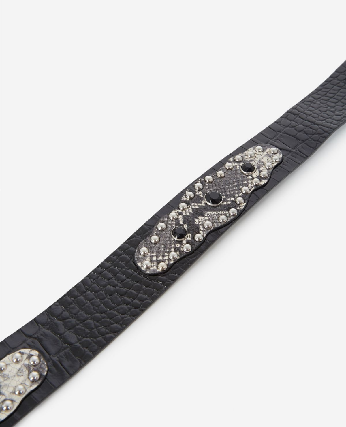 THE KOOPLES ceinture cuir noir effet python strassé-4