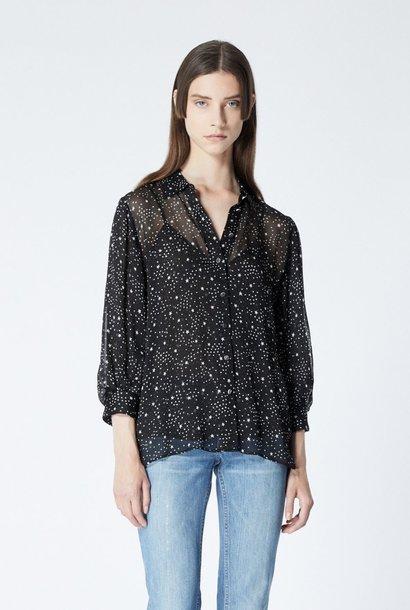 THE KOOPLES chemise fluide noire imprimé étoiles