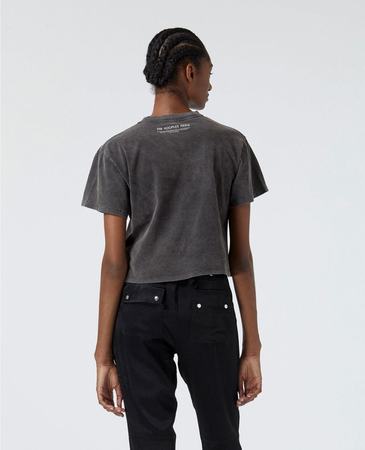 THE KOOPLES t-shirt noir coton sérigraphie rock-3
