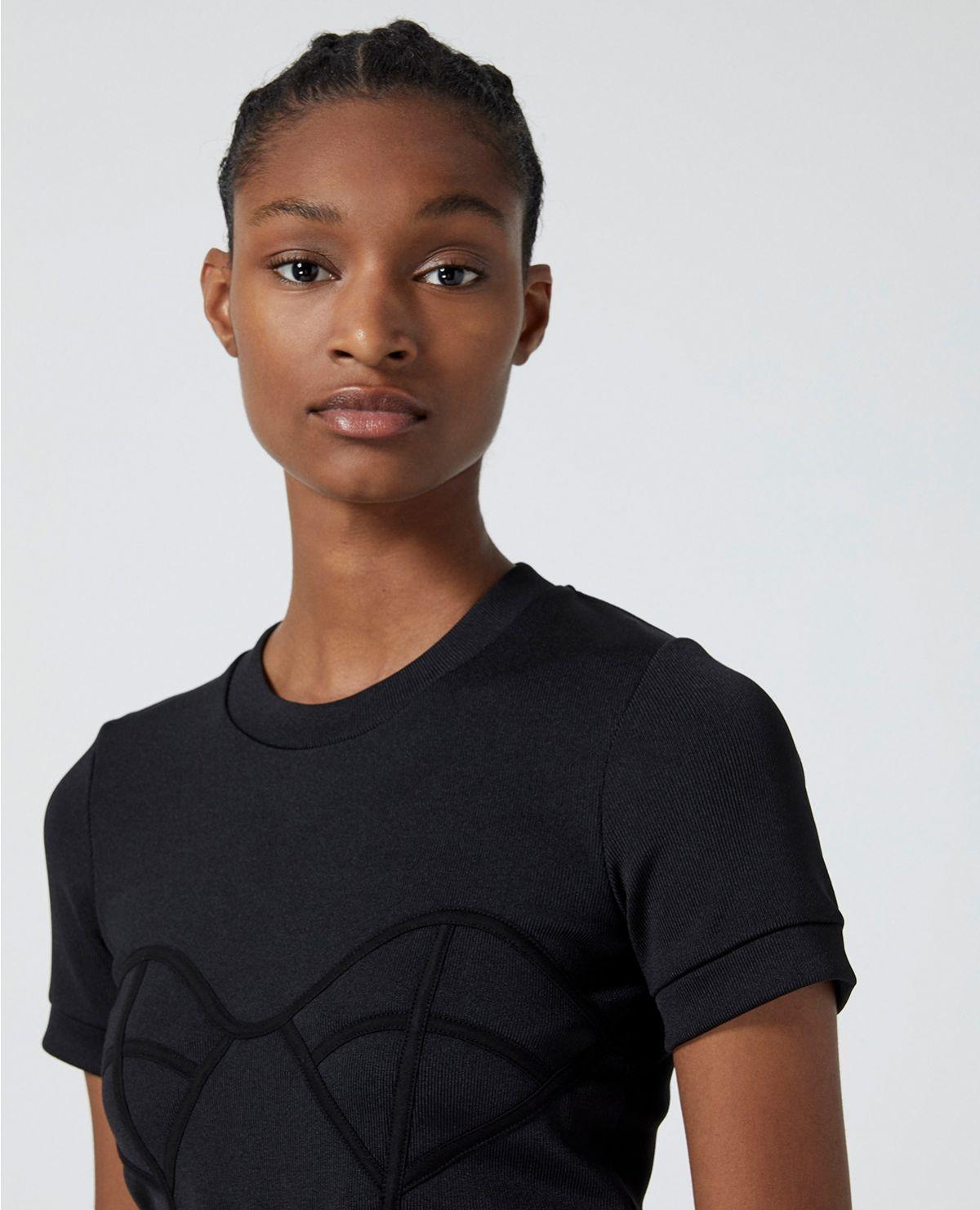 THE KOOPLES t-shirt noir maille à détail corset-2