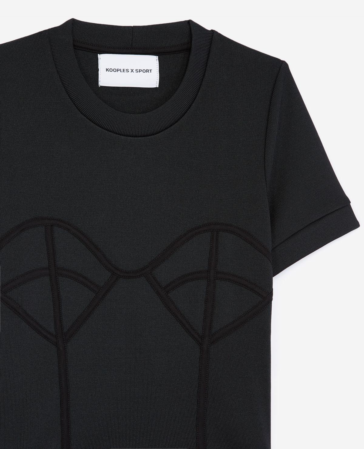 THE KOOPLES t-shirt noir maille à détail corset-3