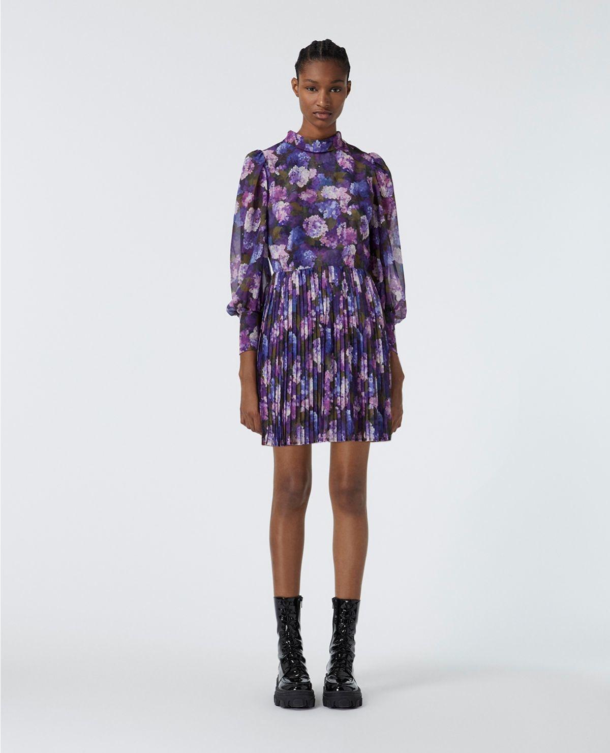 THE KOOPLES robe fluide plissée imprimé violet-2