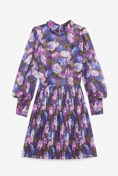 THE KOOPLES robe fluide plissée imprimé violet