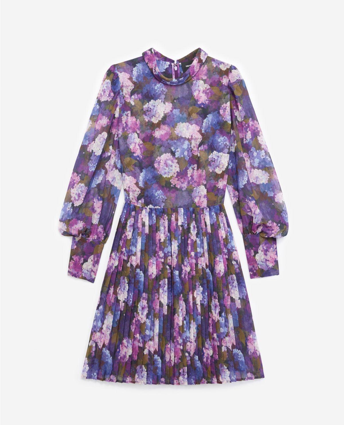 THE KOOPLES robe fluide plissée imprimé violet-1