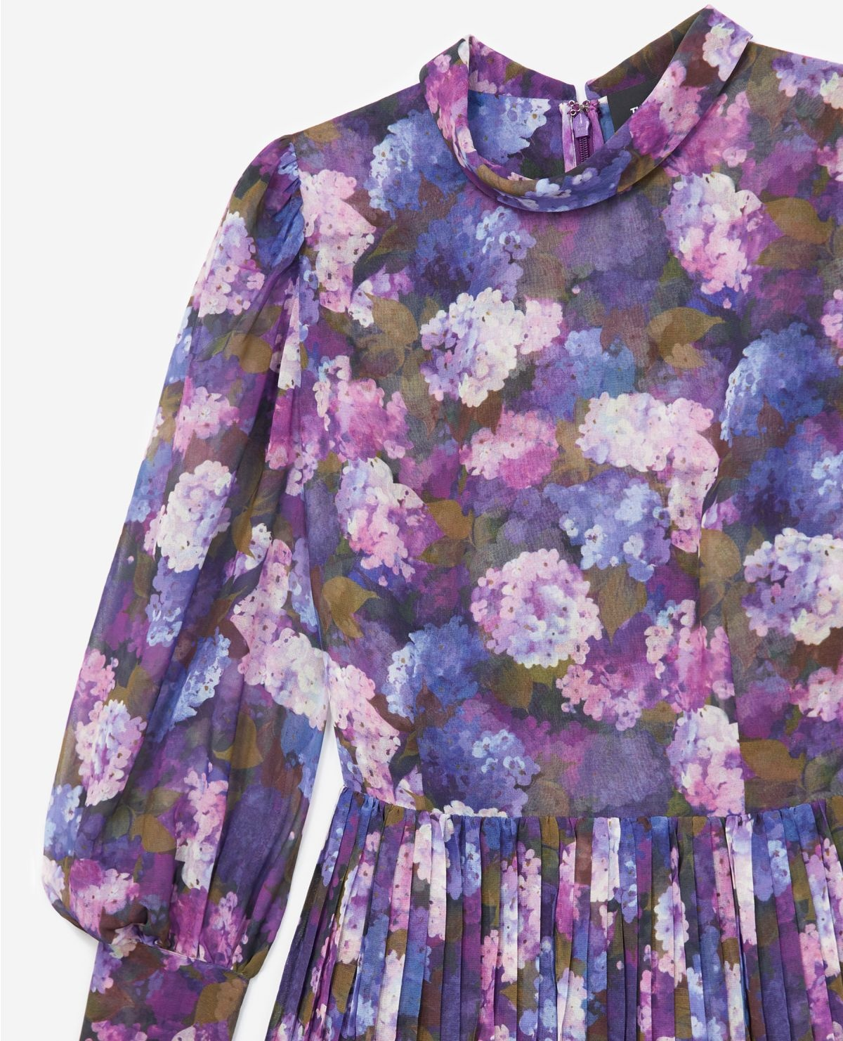 THE KOOPLES robe fluide plissée imprimé violet-3
