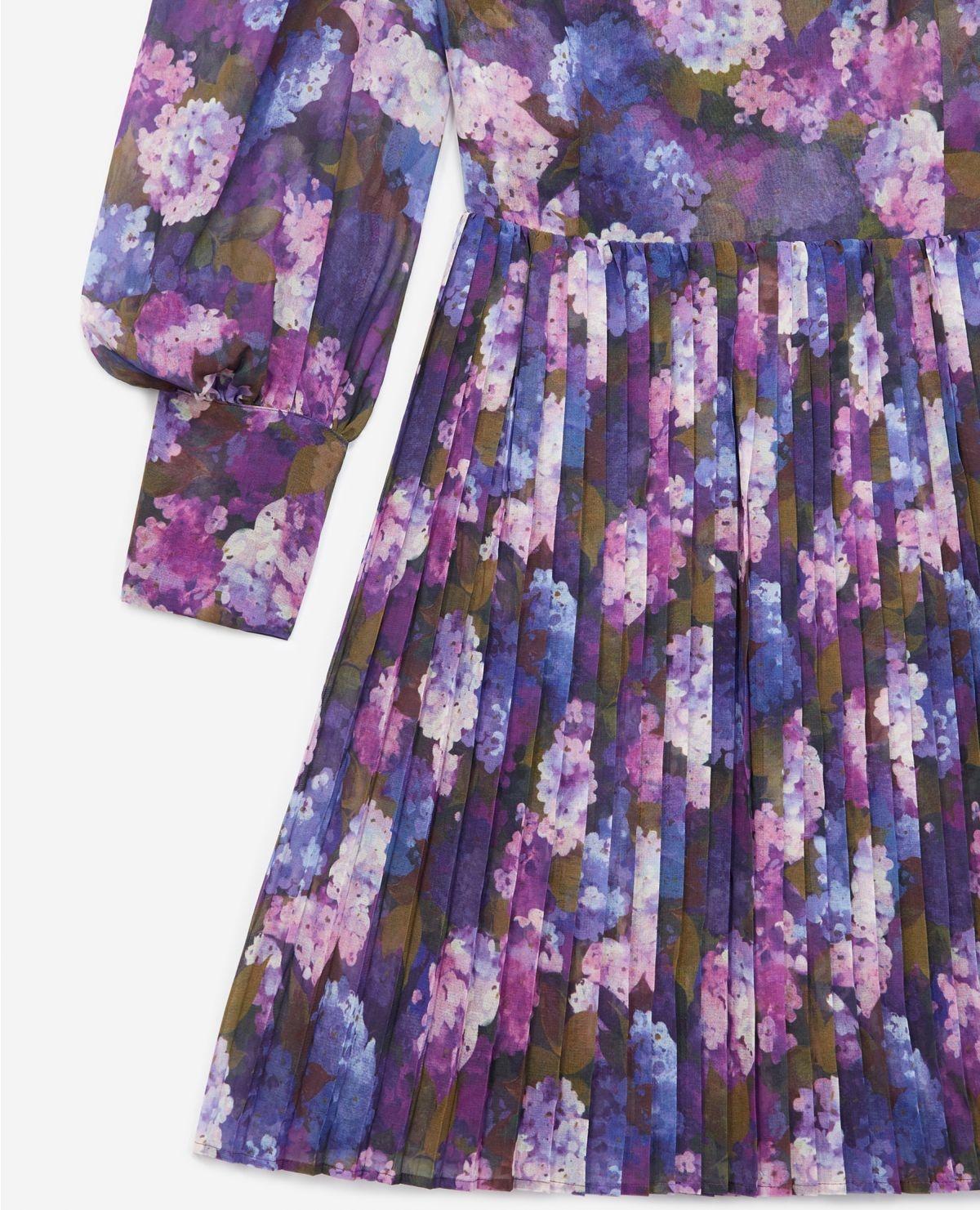 THE KOOPLES robe fluide plissée imprimé violet-4