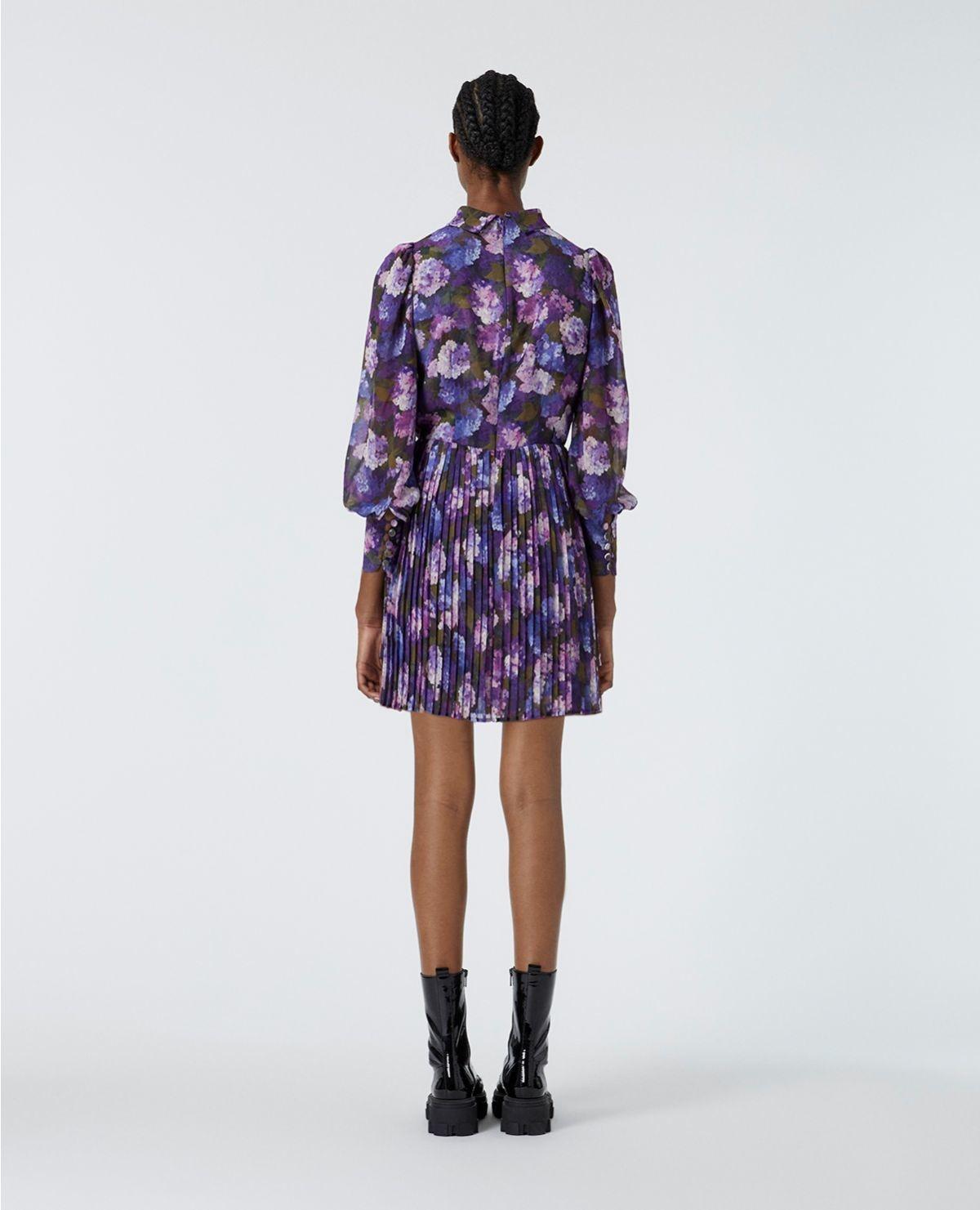 THE KOOPLES robe fluide plissée imprimé violet-5