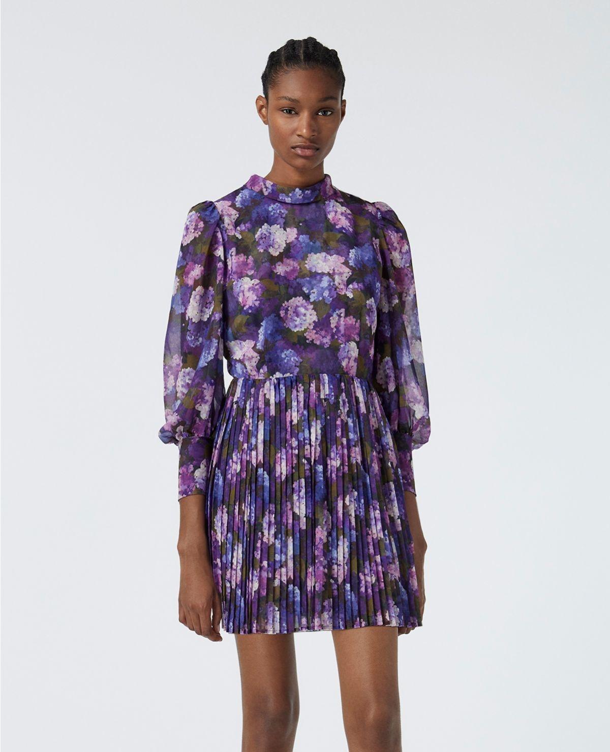 THE KOOPLES robe fluide plissée imprimé violet-6