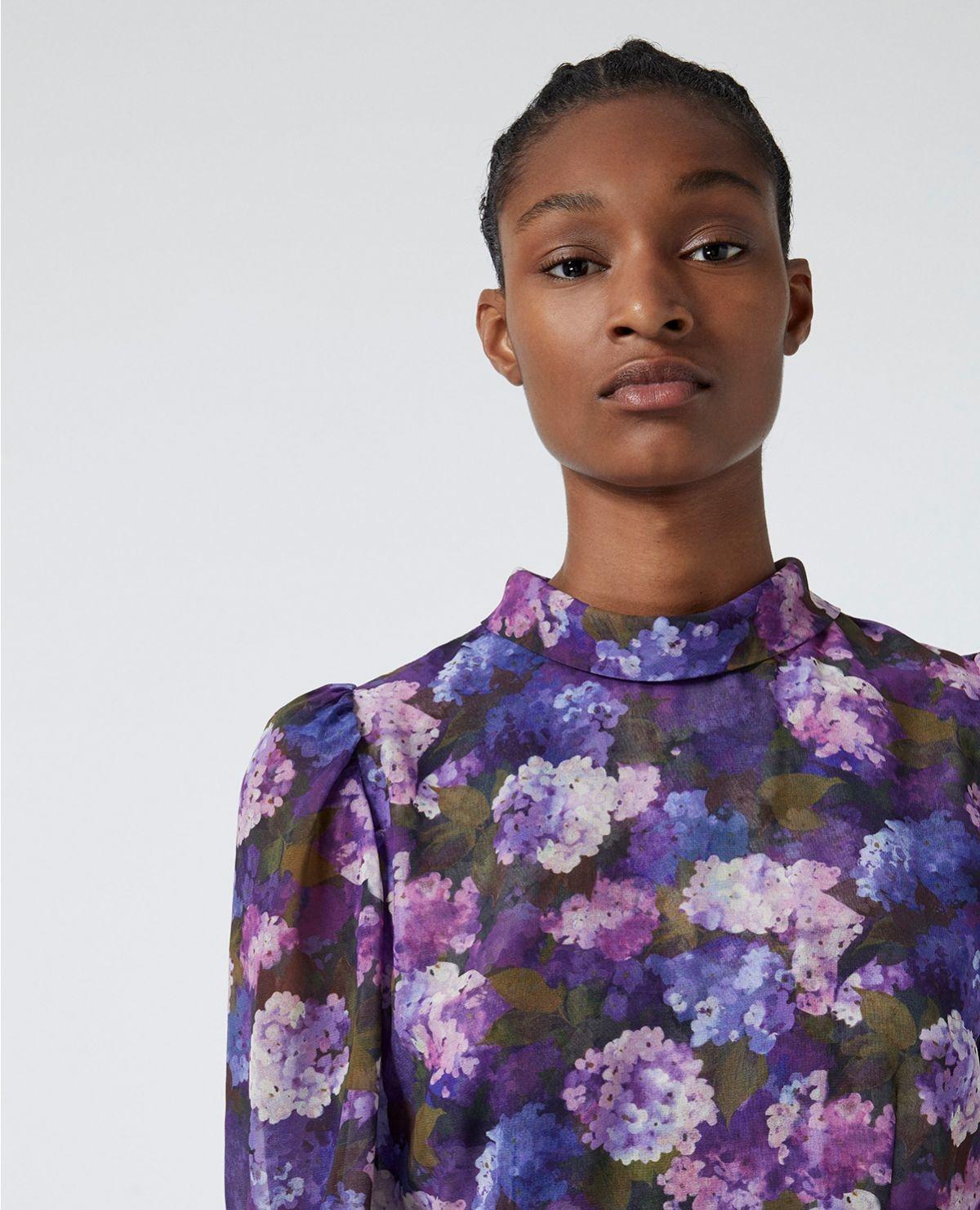 THE KOOPLES robe fluide plissée imprimé violet-7