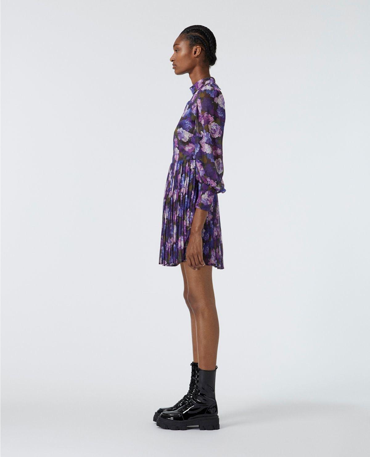 THE KOOPLES robe fluide plissée imprimé violet-8