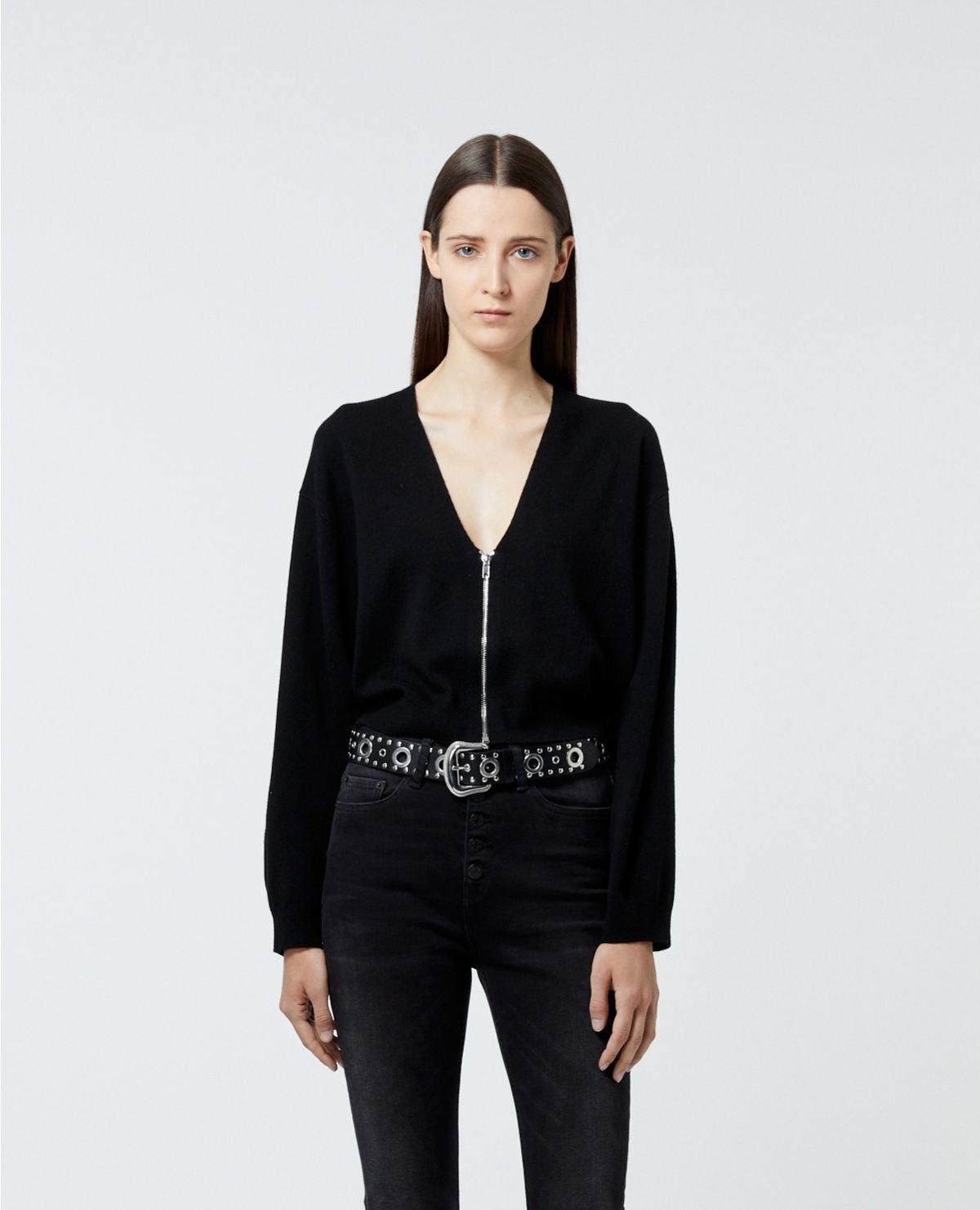 THE KOOPLES  cardigan noir zippé à manches amples-2