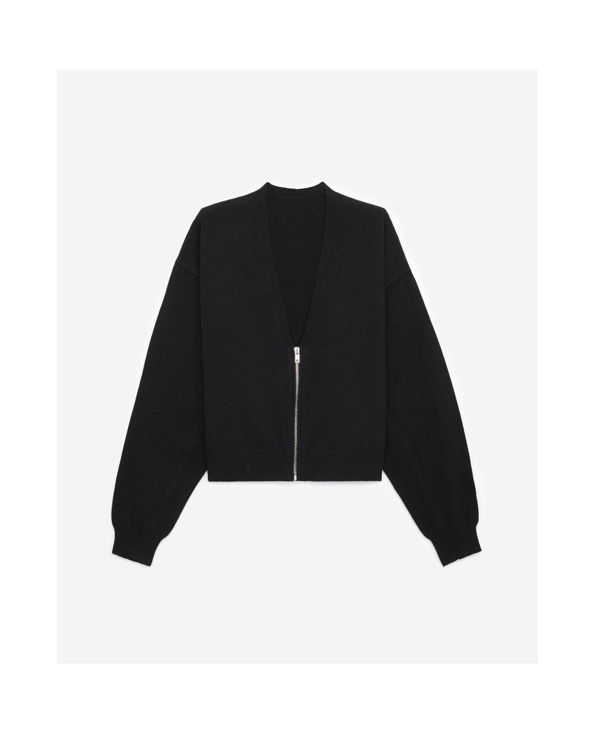 THE KOOPLES  cardigan noir zippé à manches amples-1