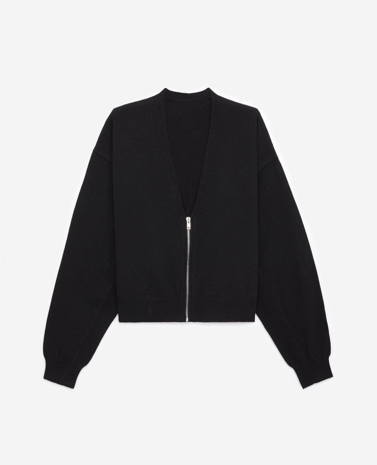 THE KOOPLES  cardigan noir zippé à manches amples-3
