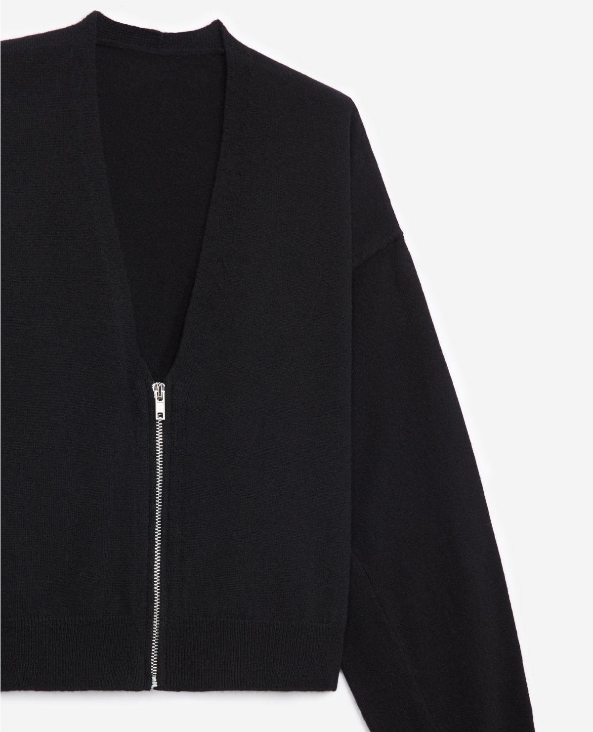 THE KOOPLES  cardigan noir zippé à manches amples-4