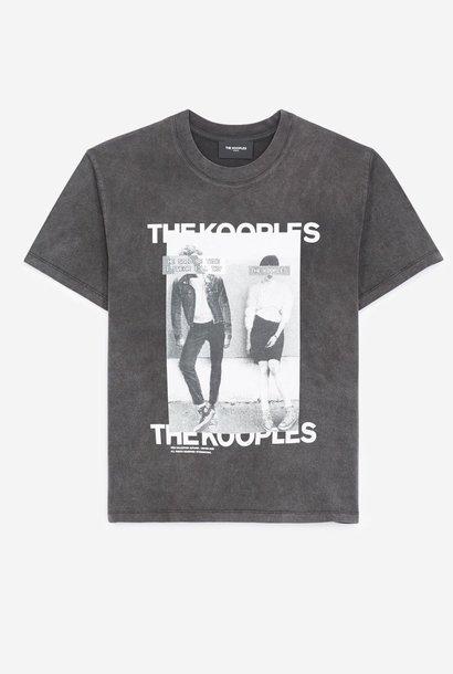TH EKOOPLES t-shirt noir délavé coton sérigraphie