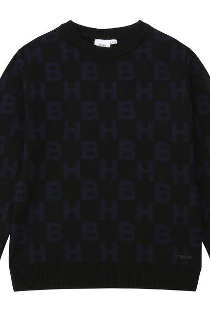 BOSS pull en coton peigné à motifs