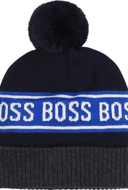 BOSS bonnet en coton avec pompon