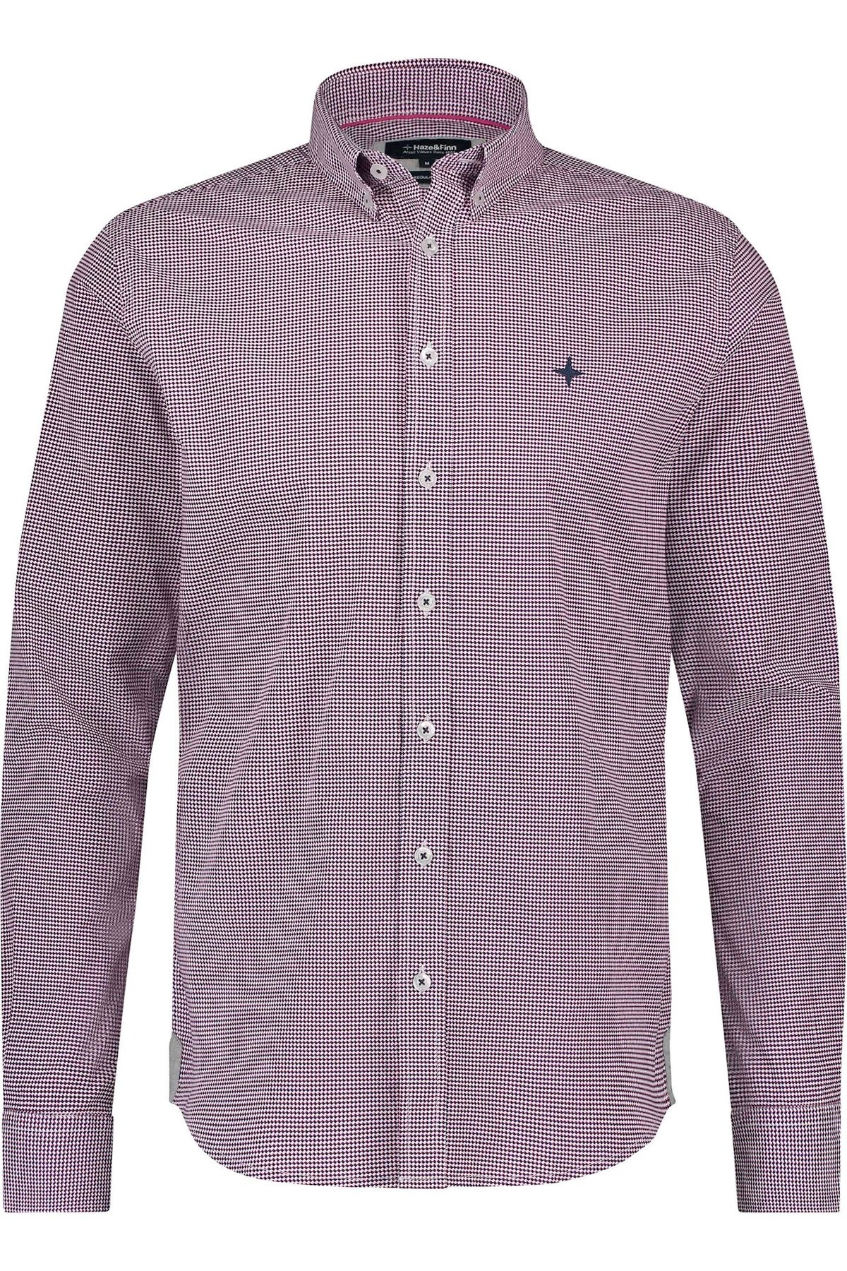 HAZE & FINN chemise stretch à imprimé illusion rouge regular fit-1