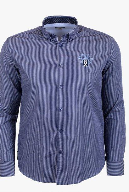 CLASSIC ALL BLACKS chemise rayée et coudières contrastées