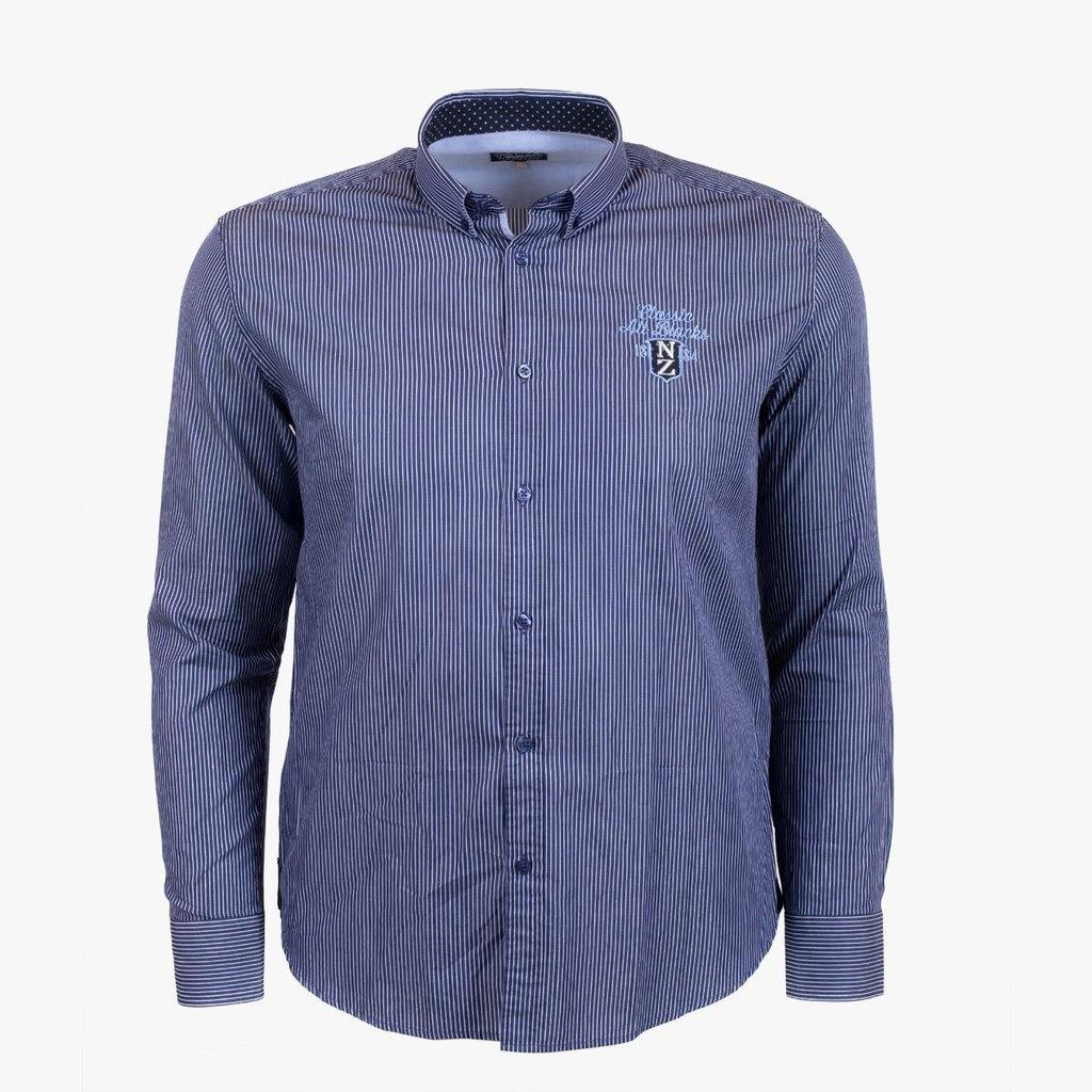 CLASSIC ALL BLACKS chemise rayée et coudières contrastées-1