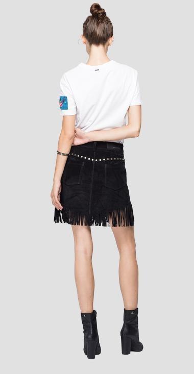 REPLAY mini jupe en daim à franges-2