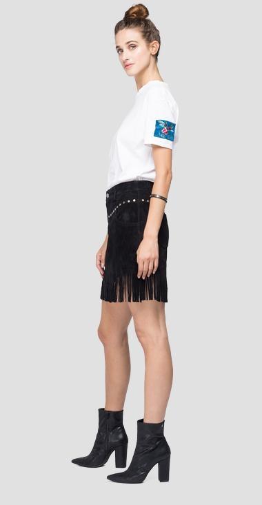REPLAY mini jupe en daim à franges-3