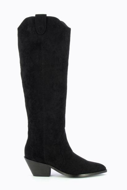 PEPITES chaussure bottes santiags en suédine noire