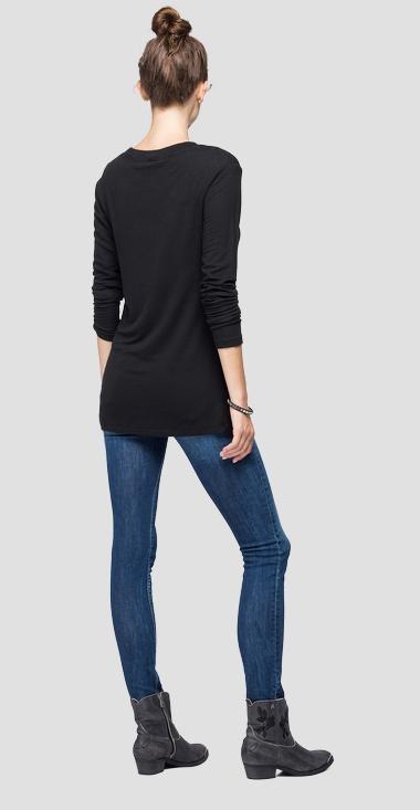 REPLAY T-shirt en lin à manches longues-2