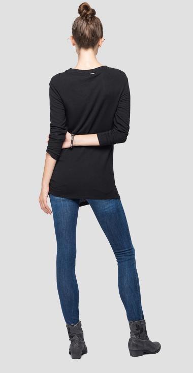 REPLAY T-shirt en lin à manches longues-3