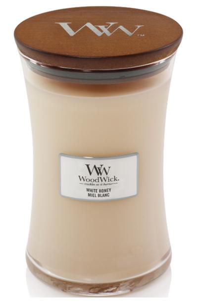 WOODWICK bougie miel blanc large