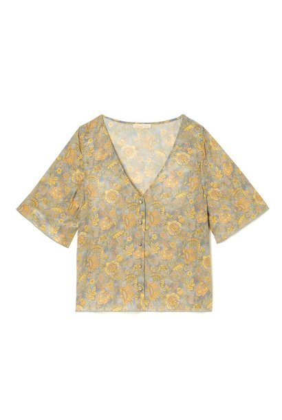 Blouse Goyava Grey California Flowers