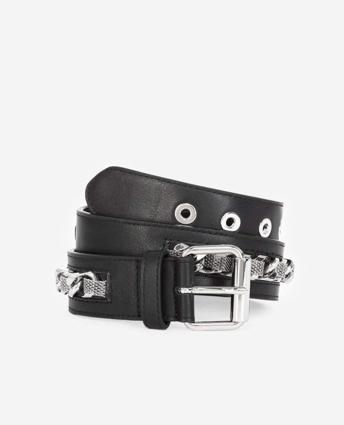 THE KOOPLES ceinture cuir classique détail chaîne-1