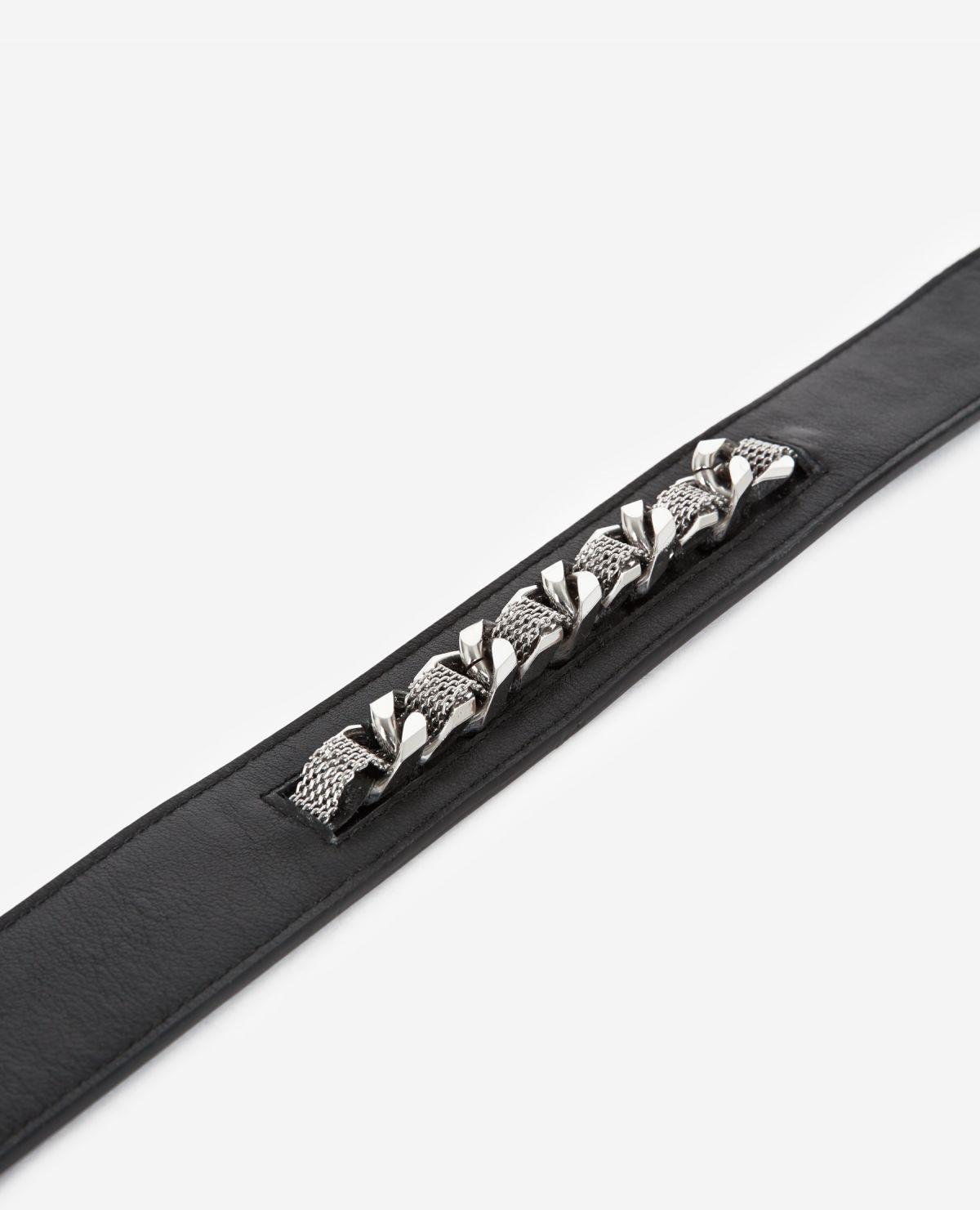 THE KOOPLES ceinture cuir classique détail chaîne-4