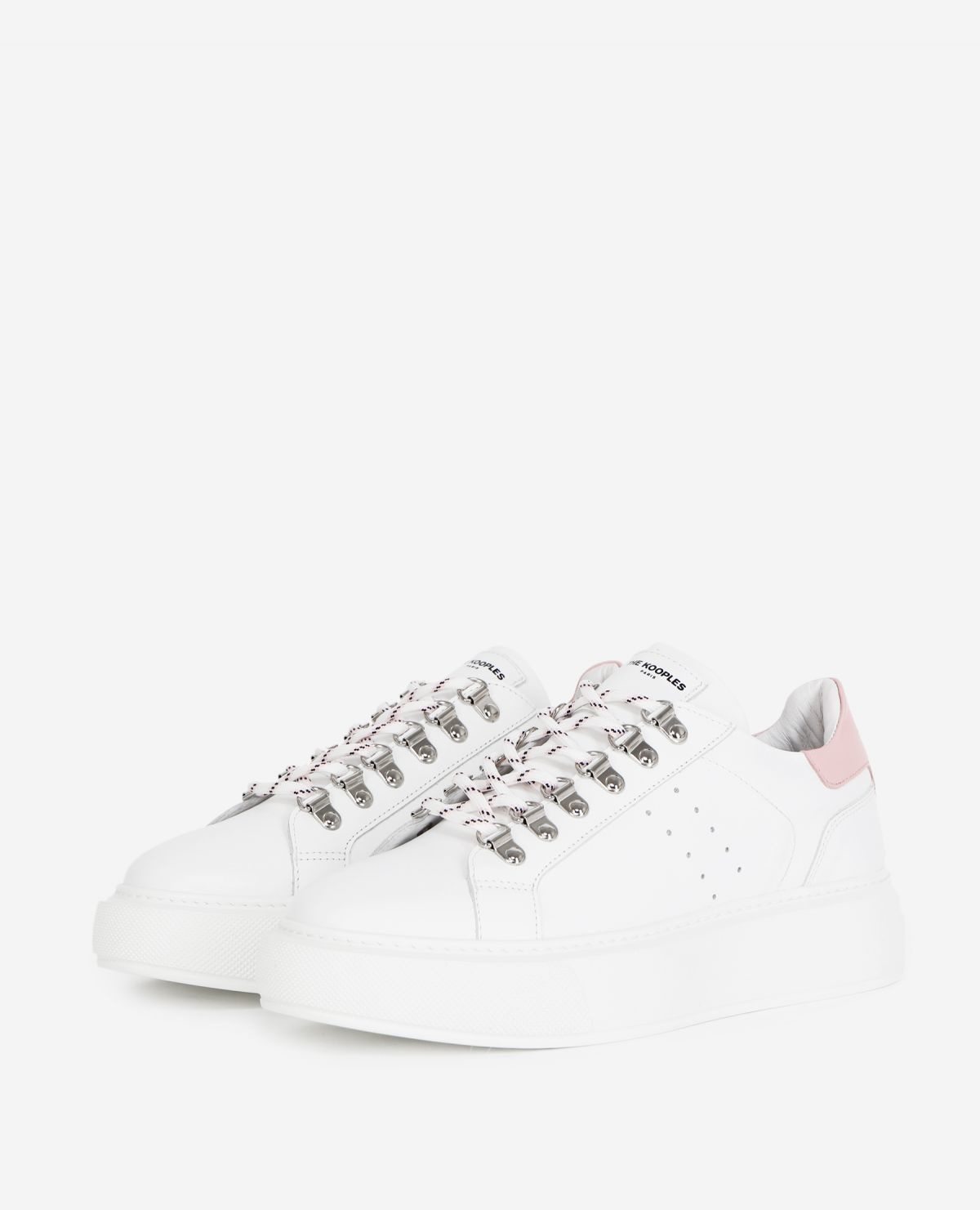 THE KOOPLES  baskets cuir blanches-2