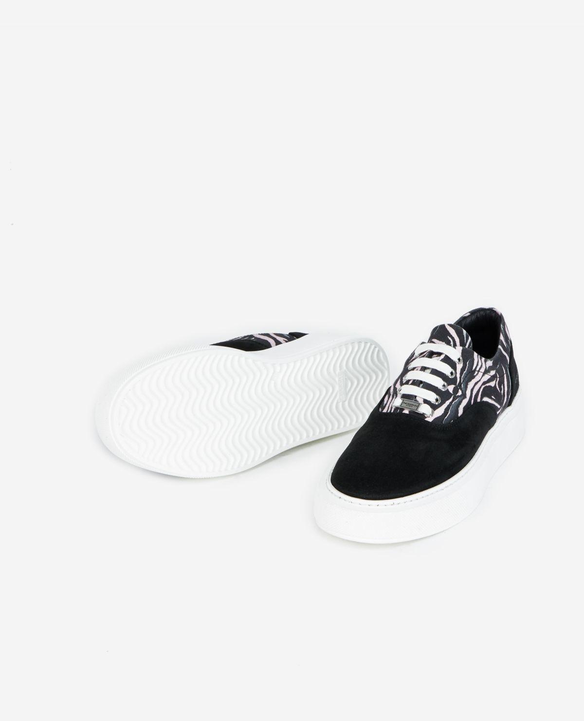 THE KOOPLES baskets cuir noir et blanches-4