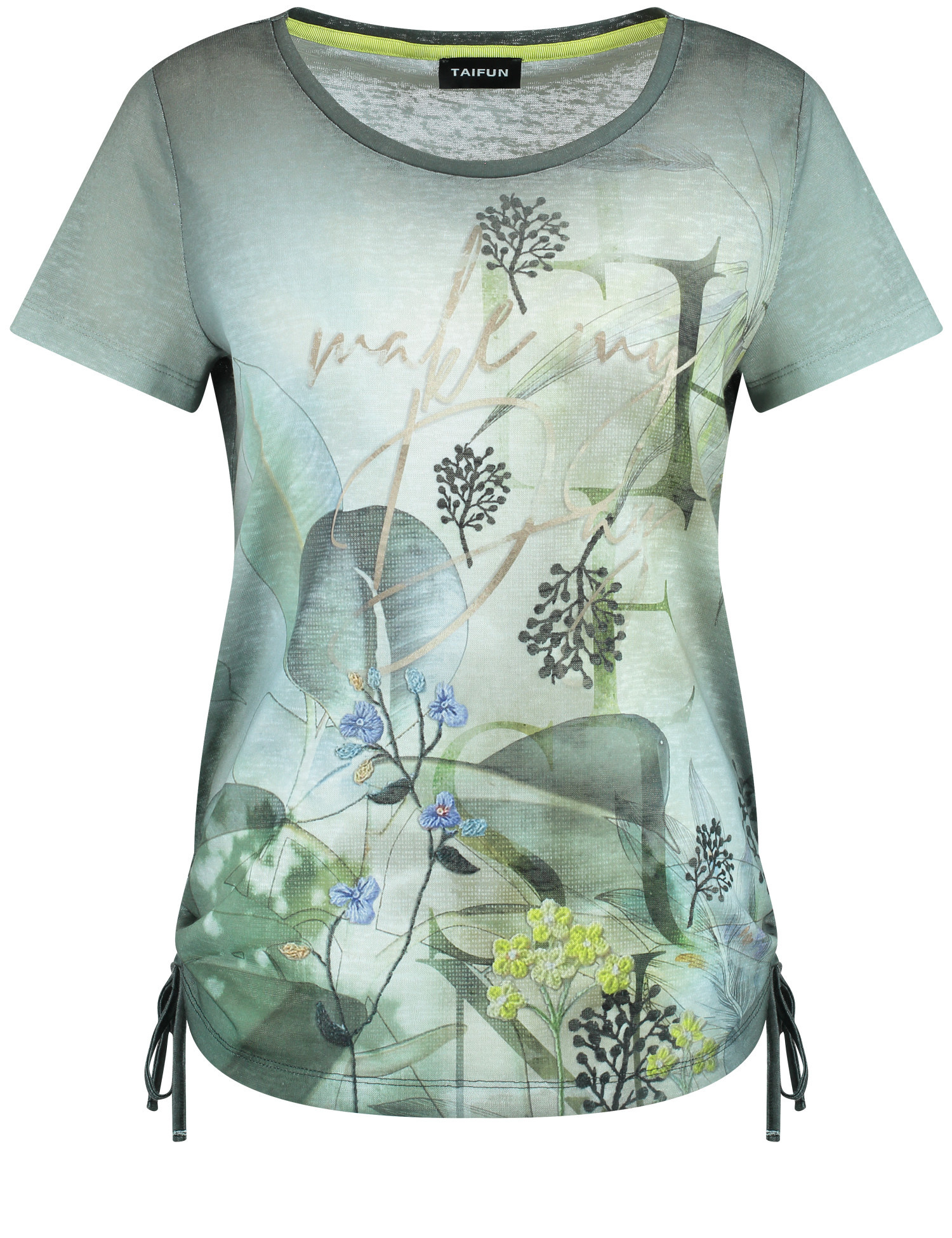 TAIFUN t-shirt avec fronces latérales-1