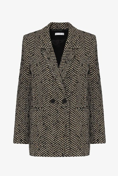ANINE-BING FISHBONE BLAZER CREAM AND BLACK