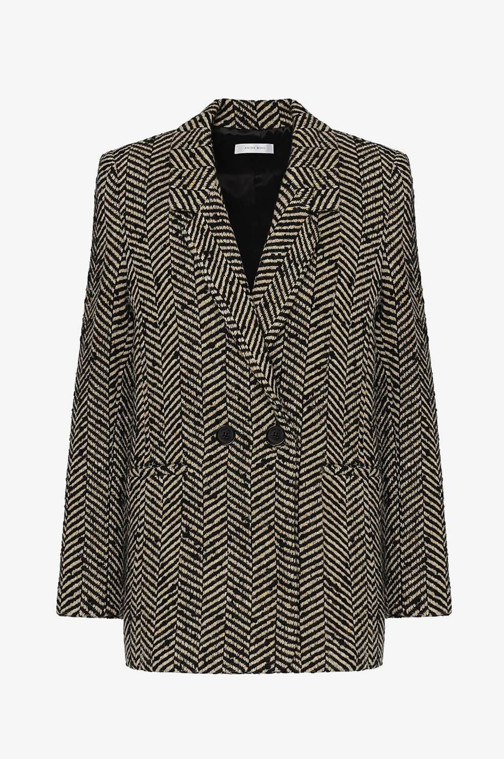 ANINE-BING FISHBONE BLAZER CREAM AND BLACK-1